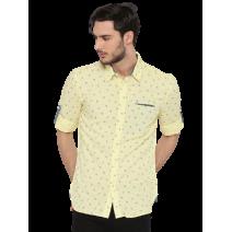 Jack & Jones Men Yellow Linen Slim Fit Printed Casual Shirt
