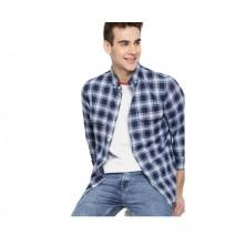 Harvard Men Navy & Yellow Checked Slim Fit Casual Shirt