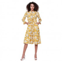 Tokyo Talkies Women's A-line Yellow Dress